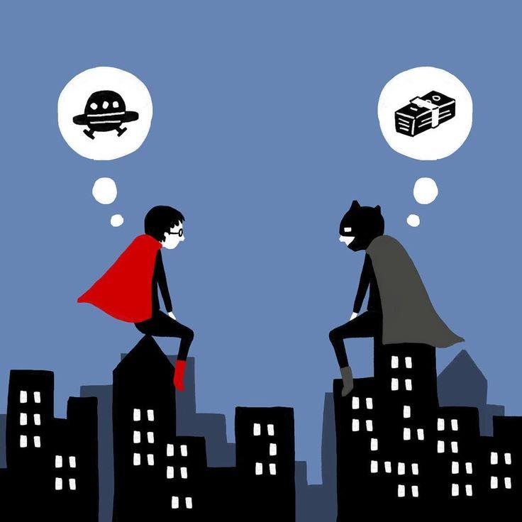 バットマンはすごいお金持ちで、スーパーマンは宇宙人。wikiより。 今日からの映画楽しみだなぁ。