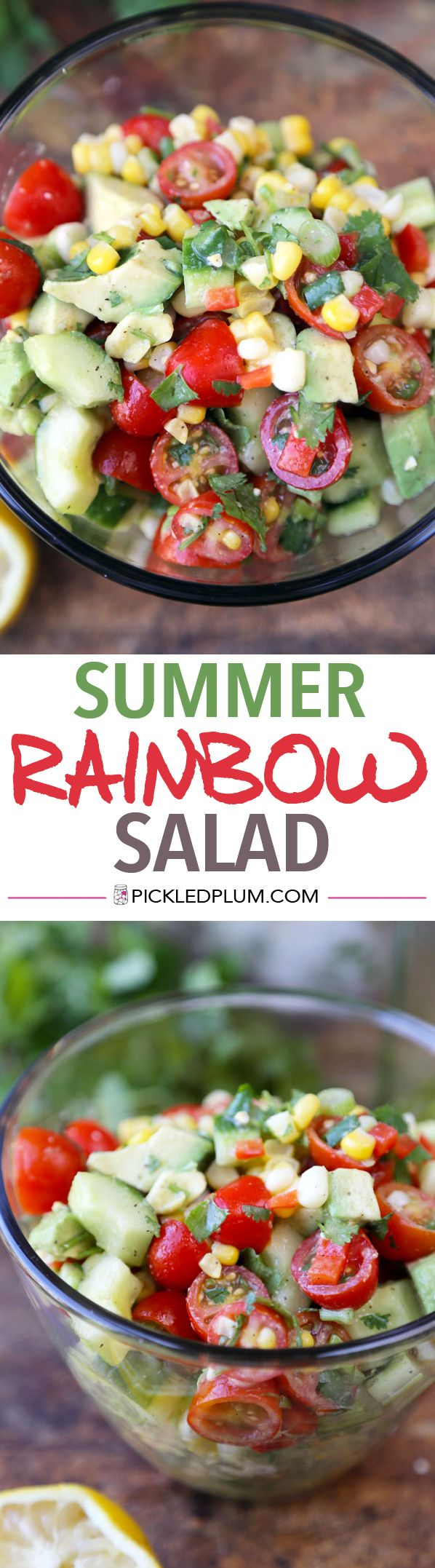 Food Recipe: SUMMER RAINBOW SALAD - Summer cooking should never take more than 15 minutes! #vegan #glutenfree #healthy #recipe http://www.pickledplum.com/summer-rainbow-salad-recipe/ http://www.pickledplum.com/summer-rainbow-salad-recipe/