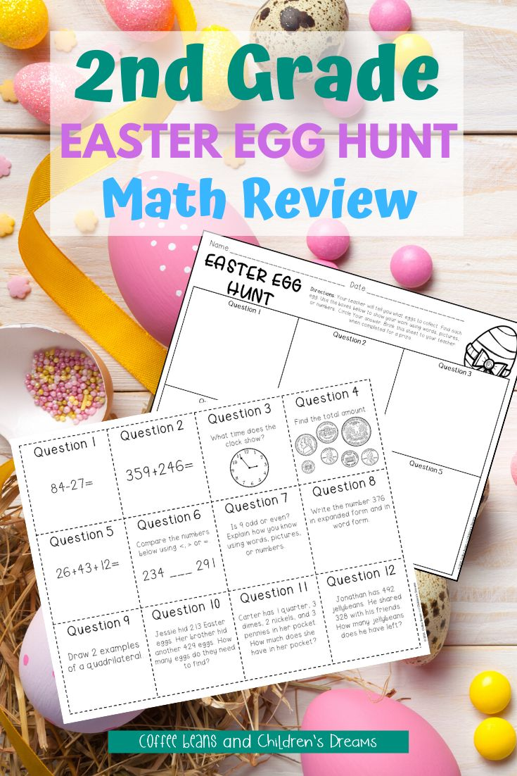 Easter Math Activity Egg Hunt Review For 2nd Grade Easter Math Easter Math Activities Math Activities [ 1102 x 735 Pixel ]