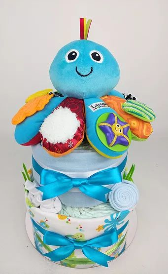 Baby Boy Nappy Cakes - Underwater Theme Nappy Cake, Octopus, Blue and Green, Nappy Cakes by Emma, Diaper Cake