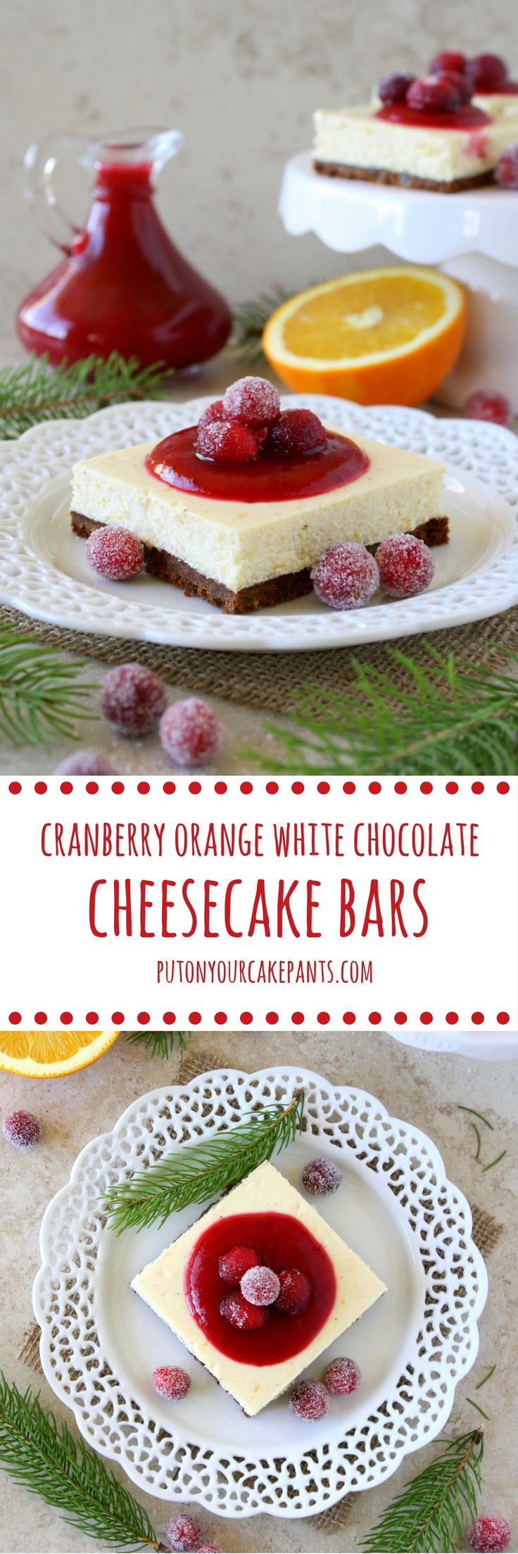 These cranberry orange white chocolate cheesecake bars look so good. I ...