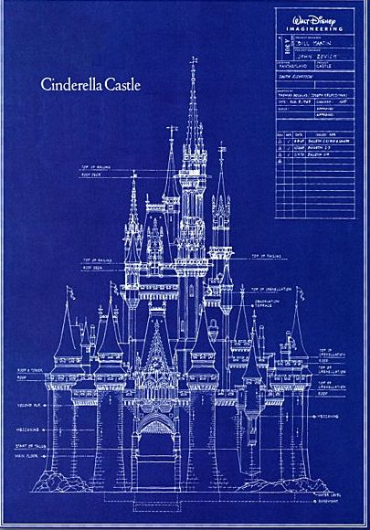 Cindrella Castle Blueprint. I want the replica in my backyard! I may have to cut some trees and bulldoze my neighbors, but I think it's worth it...They'd understand right?