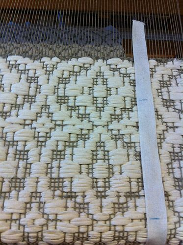 overshot with rag pattern weft