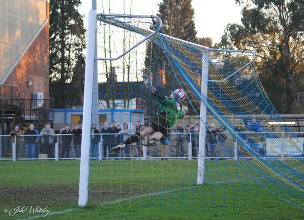 Superb save by Andy Warrington from Andy Hall for Buxton FC v King's Lynn Town FC 11/1/14