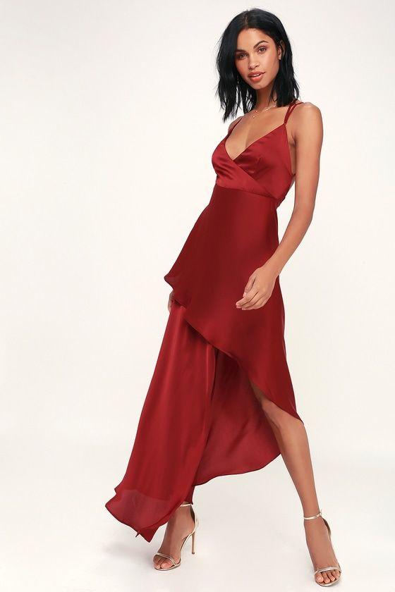 8899e13b04d Take a holiday in TJD X Lulus Bora Bora Wine Red Satin High-Low Maxi Dress!  Sleek satin creates this sexy dress with an asymmetrical maxi skirt.