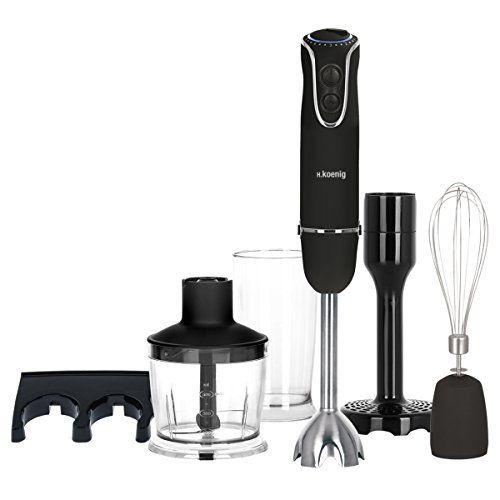H.Koenig MIX75 Stabmixer-Set mit Mixbecher, Schneebesen und Kartoffelstampfer, 750 W, schwarz&edelstahl  Preis 42,89 €