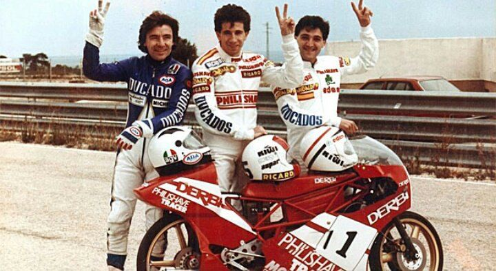 Spanish Derbi Team. Ángel Nieto, Jorge Martínez & Manuel Herreros.