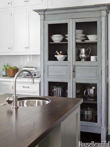 gray built-in hutch in kitchenIdeas, Antiques Armoires, Built In, Colors, Chicken Wire, Pantries, Kitchens Islands, House, Kitchens Cabinets
