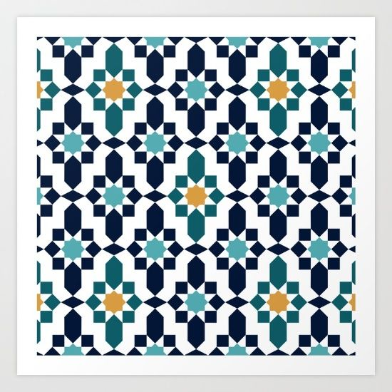 Collect your choice of gallery quality Giclée, or fine art prints custom trimmed by hand in a variety of sizes with a white border for framing. https://society6.com/product/moorish-pattern_print?curator=wellglow