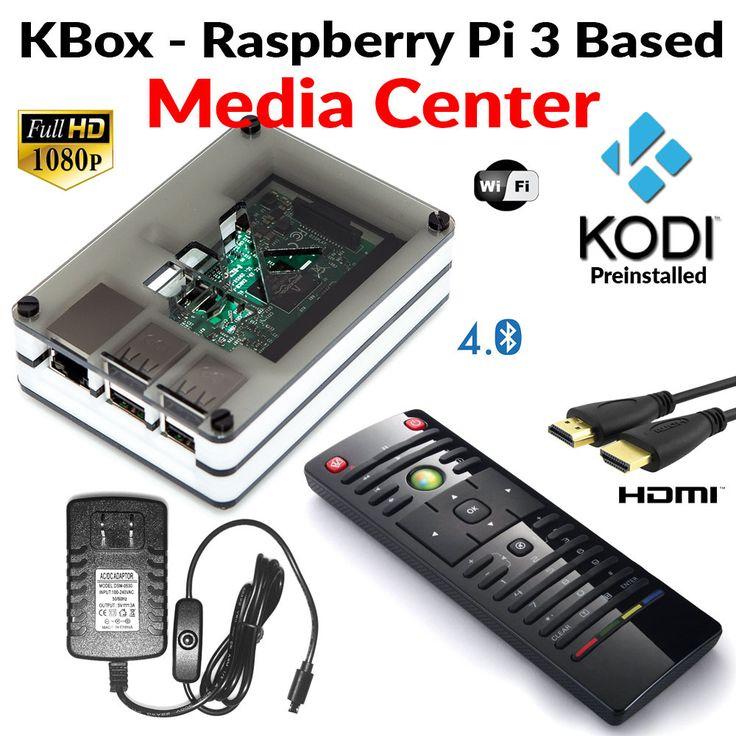 Raspberry Pi 3 Based Extreme Media Center - Kodi Installed - White Case - IR Remote