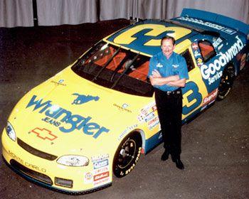 Dale Earnhardt Standing Beside Wrangler Car
