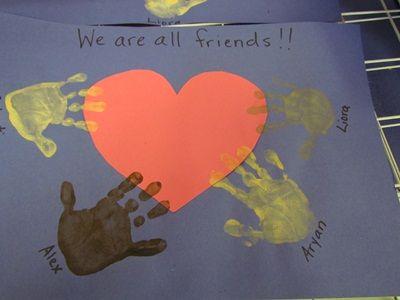 We are all friends (handprint art).: Crafts For Kids, Craft Kids, Martin Luther King Jr Crafts, Crafts Ideas, Teaching Preschool, Crafts Kids, Nu'Est Jr, Jan Martinlutherkingjr, Kids Art Work