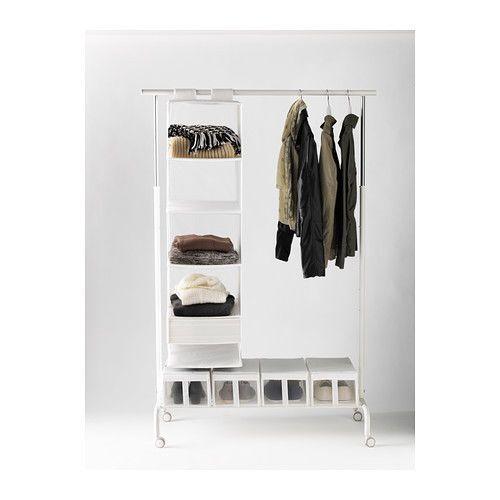 ikea rigga adjustable clothes rail with shoe rack white