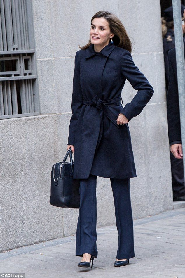 Back to business!Letizia, who returned to her royal duties last week following the festive break, wore her hair in a loose side parting, adding a pair of blue drop earrings to her look