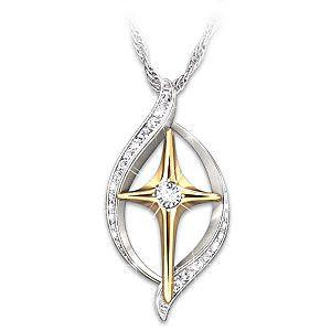 """Faith Is Believing"" Diamond Cross Pendant Necklace"