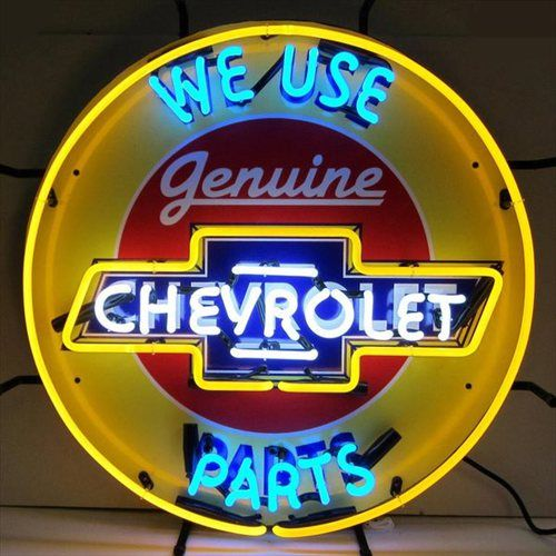 Genuine Chevrolet Parts Neon Sign is very bright! Neon Signs feature multi-colored, hand blown neon tubing. The glass tubes are backed by a beautiful silkscreened full-color image, and the entire sign
