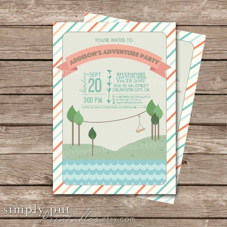 free printable camouflage birthday party invitations%0A Adventure Birthday Party Invitation Printable   Zipline Party Invite   Zip  Line Outdoor Glamping   Girl u    s