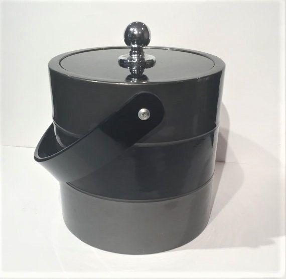 Vintage Ice Bucket, Bucket Brigade Retro Ice Bucket, Bar Cart, Black Grey Barware by Morgan Design, Mid Century Ice Bucket Lucite Top Handle by MotownLostandFound on Etsy