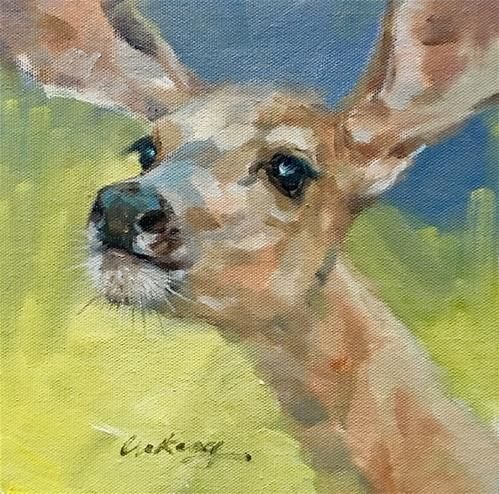 "Daily Paintworks - ""Young deer"" - Original Fine Art for Sale - © Anny Kong"
