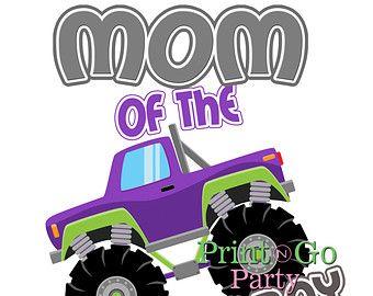 Monster Truck Birthday Iron On T-Shirt image MOM Printable Iron On Transfer DIY Circus Birthday Shirt Birthday Girl Instant Download