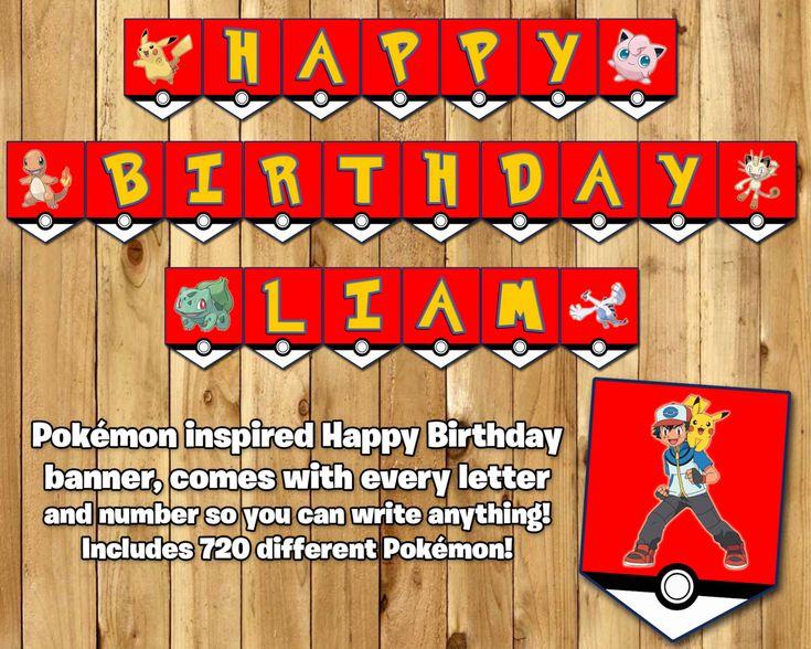 Pokemon Inspired Birthday Banner Includes 720 Different Pokemon Birthday Banner Pokemon Happy