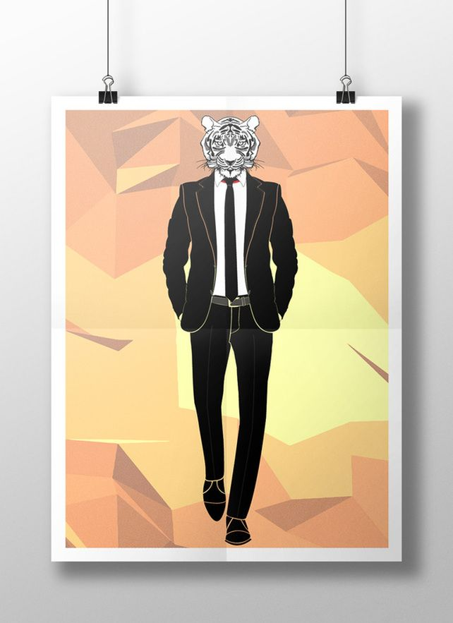 white tiger in a suit poster