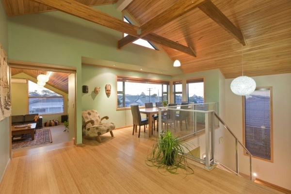 Warm timber looks fantastic with Resene Spanish Green.