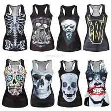 Women's Tank Top Vest Print Blouse Gothic Punk Party Clubwear Sleeveless T-Shirt