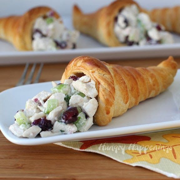These cranberry turkey salad crescent roll cornucopias are the perfect way to use up leftover Thanksgiving turkey.