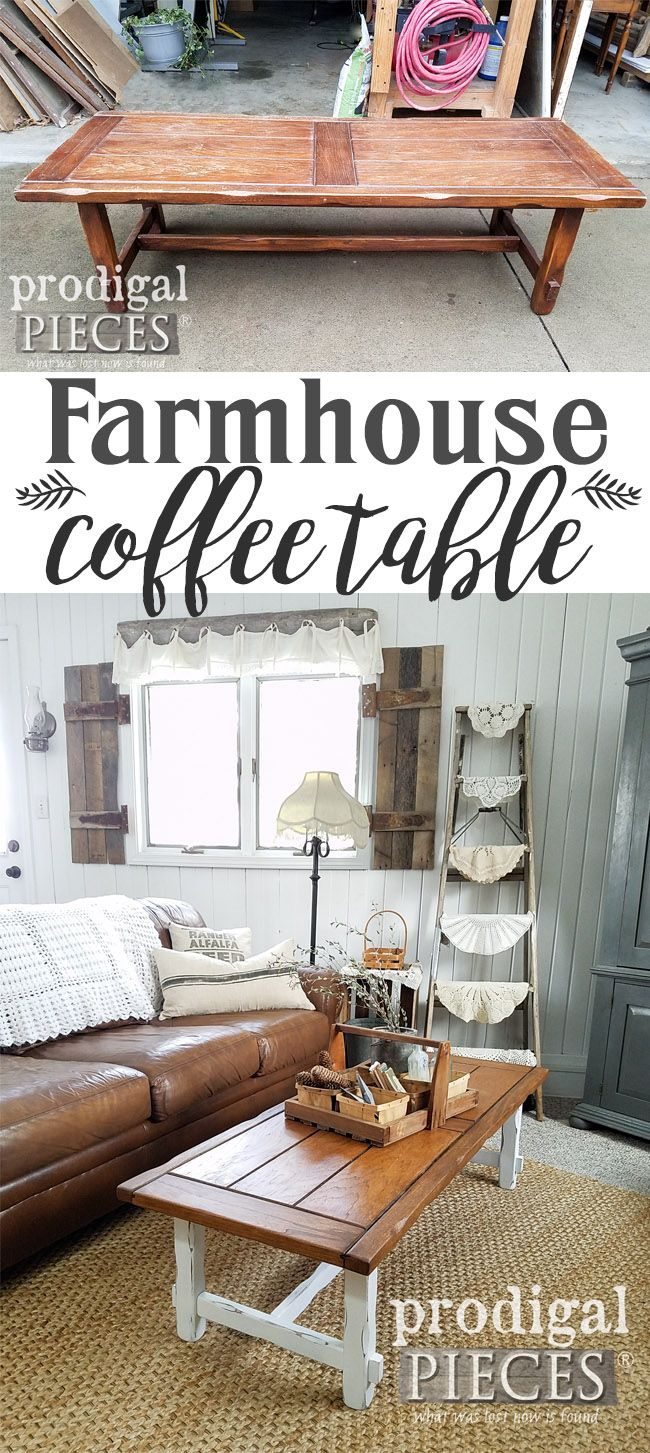 Sweet! This thrifted coffee table was looking run down, but with a little DIY it now lives on as a farmhouse coffee table with style. See the details at Prodigal Pieces | prodigalpieces.com