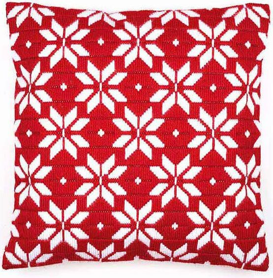 Add a touch of Nordic magic to your home with this stunning, bold geometric flowers long stitch cushion panel kit from Vervaco.