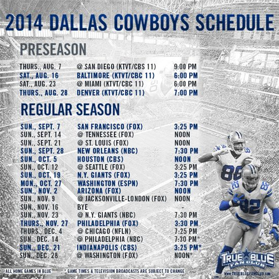 cowboys schedule 2014 | See Available Dallas Cowboys Game Tickets
