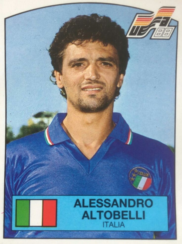 Alessandro Altobelli of Italy. Euro '88 card.