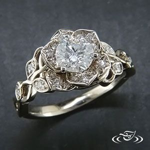 Diamond lotus engagement ring from Green Lake Jewelry. Would be really pretty wi…  – Rings