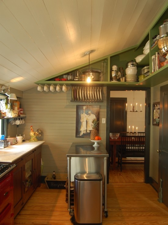 Slanted ceiling in kitchen organization tips pinterest for Cabin kitchen cabinets