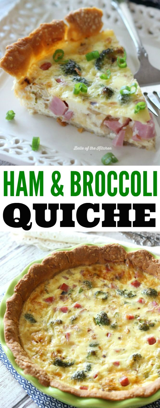This Ham and Broccoli Quiche is the perfect warm breakfast. Made with creamy and delicious gouda cheese!
