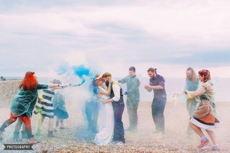 Smoke bombs, powder paint and BMX Alternative Brighton Wedding by Anna Pumer Photography www.annapumerphotography.com