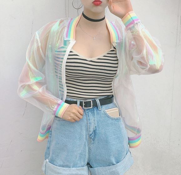 Goth Gothic Lolita Rainbow Glitter Baseball Jacket Sheer Women's Fashion