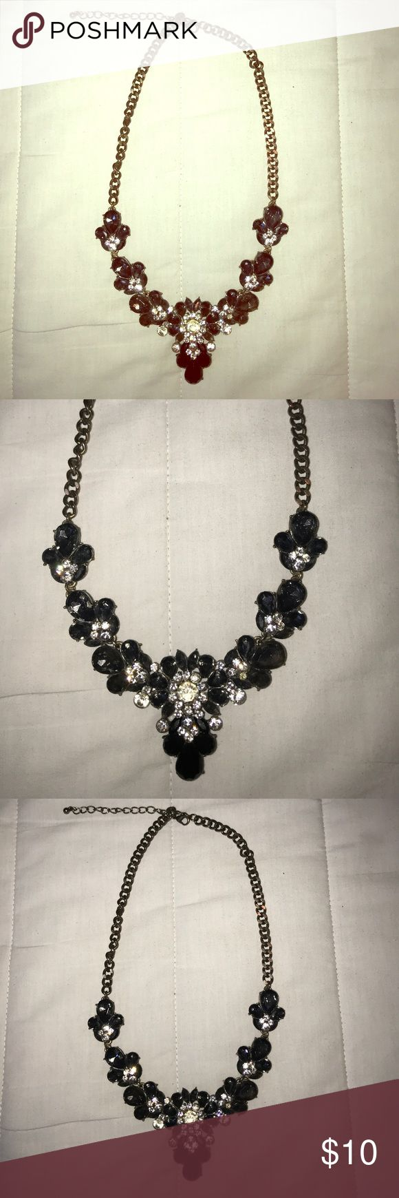 Black, Grey & White Statement Necklace Black, grey and white stoned statement necklace with dark hardware. Slightly tarnished metal on the back. Charming Charlie Jewelry Necklaces