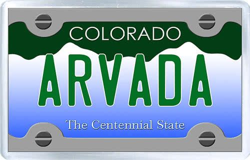 $3.29 - Acrylic Fridge Magnet: United States. License Plate of Arvada Colorado