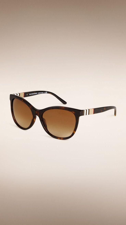 Katzenaugen-Sonnenbrille mit Check-Detail
