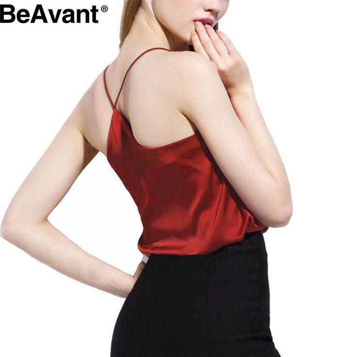 Beavant 2016新しい夏スタイルノースリーブシルクホワイト女性タンクトップセクシーな深いvネック黒キャミソールタンクカジュアルパーティー女の子トップス
