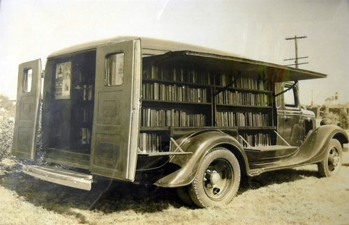 Jefferson County Texas's first bookmobile is seen in this 1935 photo provided by the Jefferson County Library. Jefferson County commissioners voted in July budget hearings to close the 80-year-old library and bookmobile because of cost concerns and low usage rates. The library's final day was Wednesday Nov. 24.