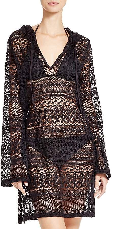 413ee785c1b Super cute black lace Boho Me Hooded Mini Dress Swim Cover-Up #affiliate # dress #swimcoverup