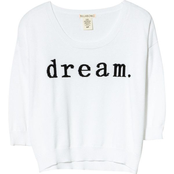 Billabong Dream Tonight Sweater ($38) ❤ liked on Polyvore featuring tops, sweaters, shirts, t-shirts, 3/4 length sleeve tops, cutoff shirt, billabong sweater, denim cut-offs and cut off shirts
