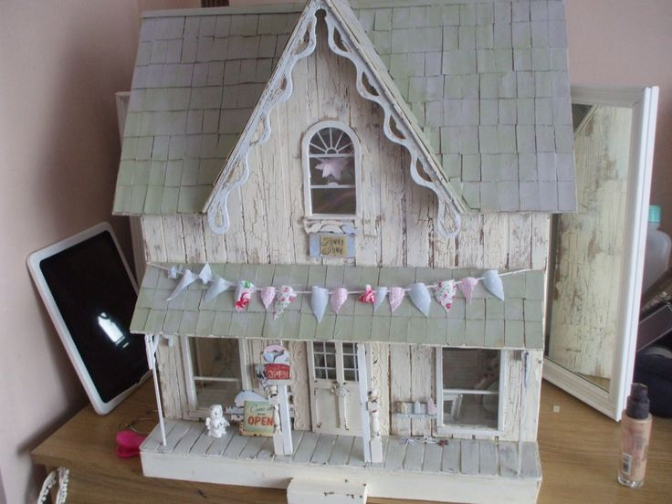 Wooden Shabby Chic Style Dolls House Shop 1 12 Scale