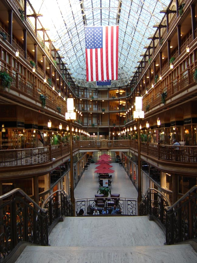 Old Arcade in Cleveland, Ohio - one of the first enclosed shopping centers, built in 1890, now a Hyatt Regency Hotel.