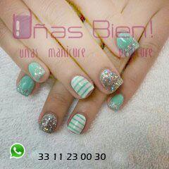 aqua shiny nails