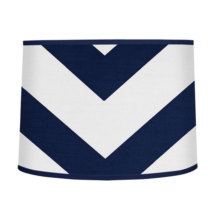 Create a focal point for your room by topping off your lamp with this large shade by Sweet Jojo Designs. A blue-and-white chevron design adds whimsy and color while brightening your room. Shade Materi