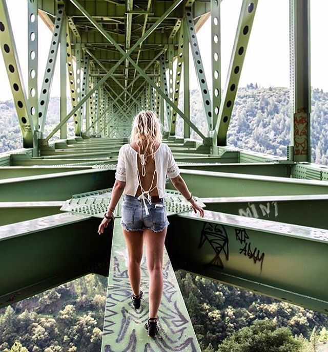 Don't look down!  Guest-a-gram goes to @trev3trimm from the Foresthill Bridge in Auburn, California! Always stay #in2nature | #exploreca #california #foresthillbridge #dontlookdown